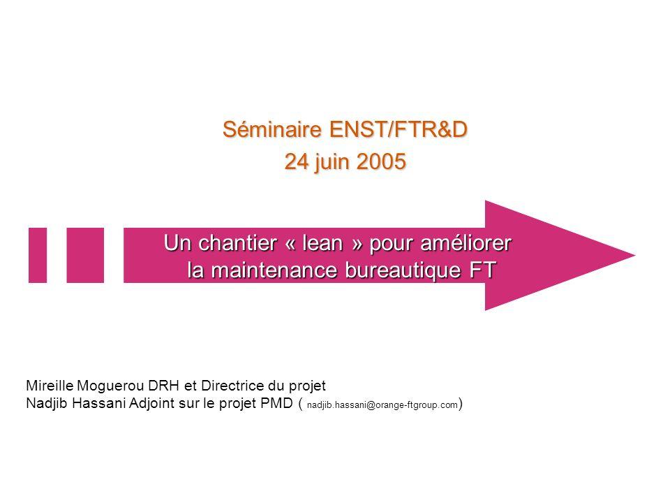 24 juin 2005 1 Séminaire ENST/FTR&D 24 juin 2005 Un chantier « lean » pour améliorer la maintenance bureautique FT Mireille Moguerou DRH et Directrice