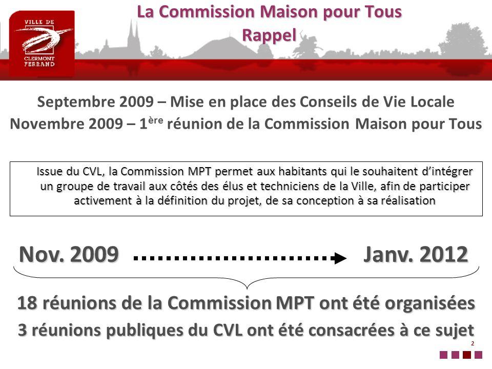 2 La Commission Maison pour Tous Rappel Septembre 2009 – Mise en place des Conseils de Vie Locale Novembre 2009 – 1 ère réunion de la Commission Maiso