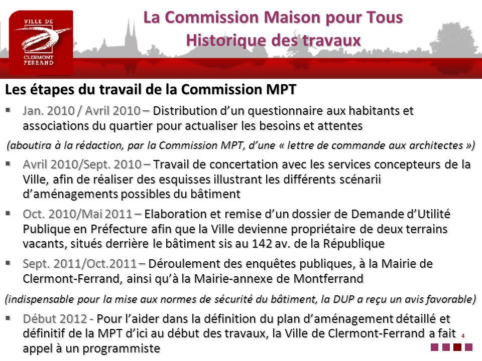 4 Les étapes du travail de la Commission MPT Jan. 2010 / Avril 2010 – Distribution dun questionnaire aux habitants et associations du quartier pour ac