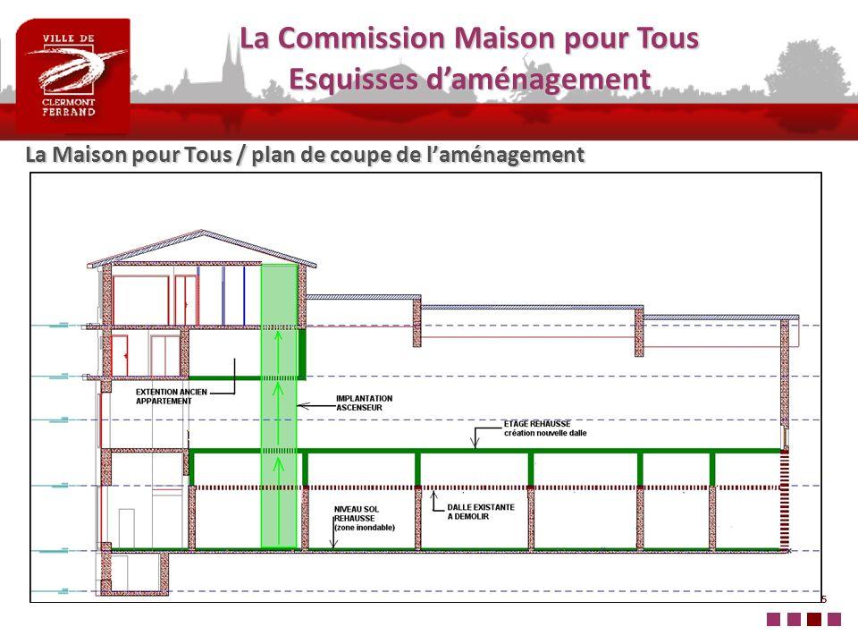 5 La Maison pour Tous / plan de coupe de laménagement La Commission Maison pour Tous Esquisses daménagement