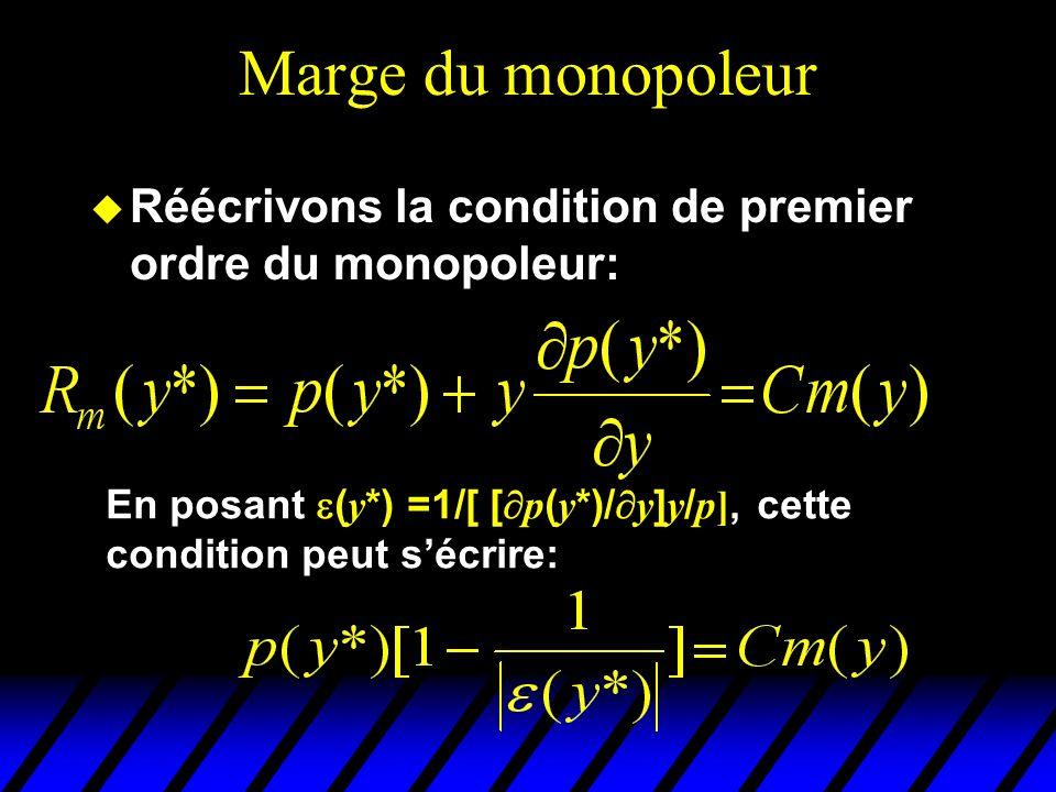 Marge du monopoleur u Réécrivons la condition de premier ordre du monopoleur: En posant ( y *) =1/[ [ p ( y *)/ y ] y / p], cette condition peut sécri