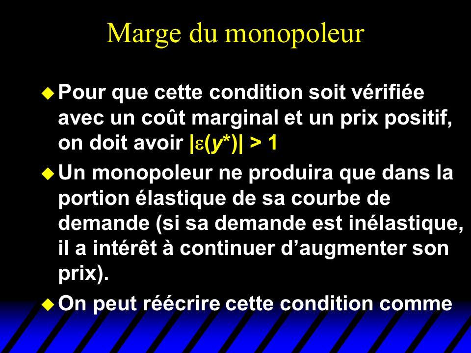 Marge du monopoleur u Pour que cette condition soit vérifiée avec un coût marginal et un prix positif, on doit avoir | (y*)| > 1 u Un monopoleur ne pr
