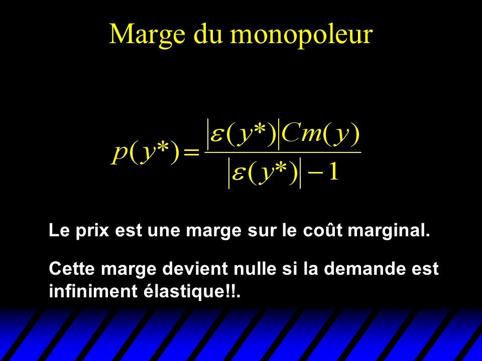 Marge du monopoleur Le prix est une marge sur le coût marginal. Cette marge devient nulle si la demande est infiniment élastique!!.
