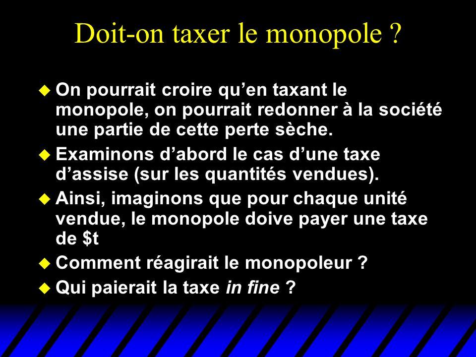 Doit-on taxer le monopole ? u On pourrait croire quen taxant le monopole, on pourrait redonner à la société une partie de cette perte sèche. u Examino