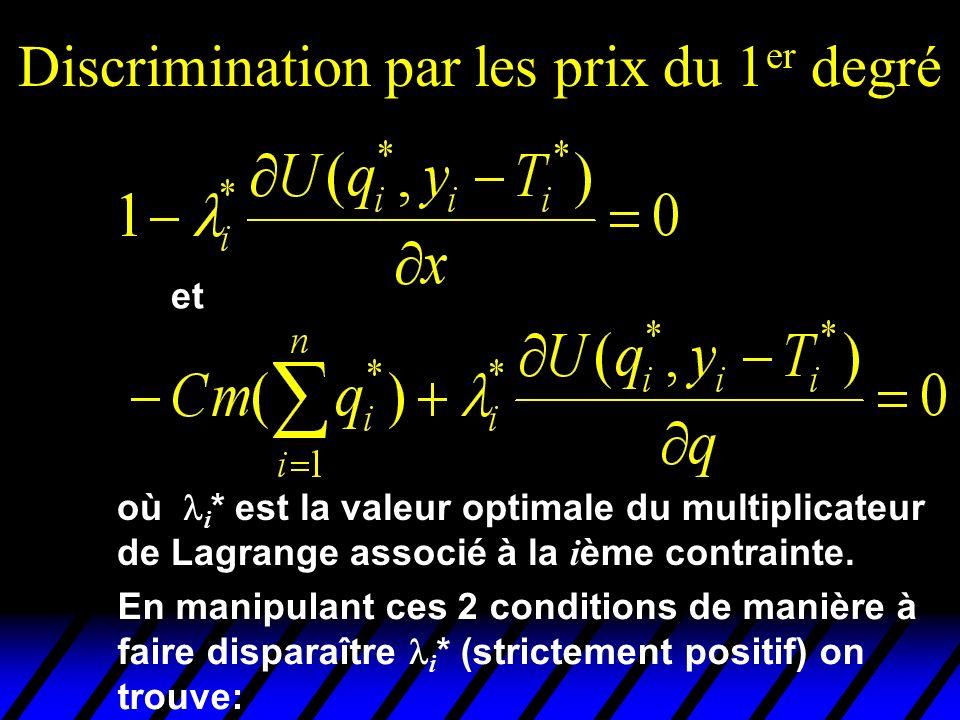 Discrimination par les prix du 1 er degré et où i * est la valeur optimale du multiplicateur de Lagrange associé à la i ème contrainte. En manipulant
