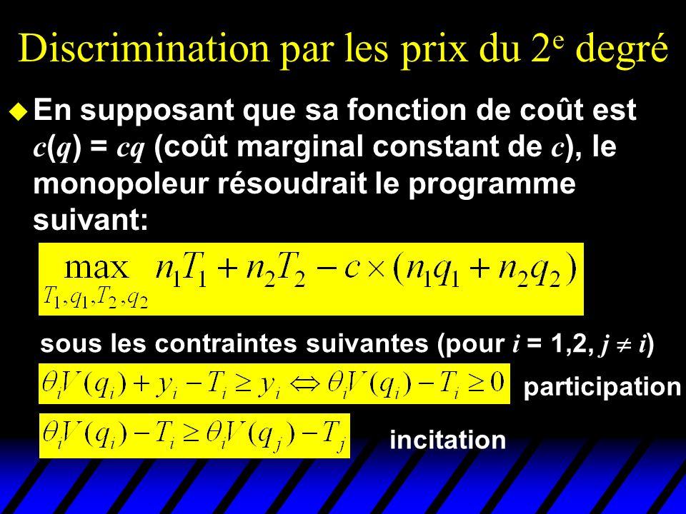Discrimination par les prix du 2 e degré En supposant que sa fonction de coût est c ( q ) = cq (coût marginal constant de c ), le monopoleur résoudrai