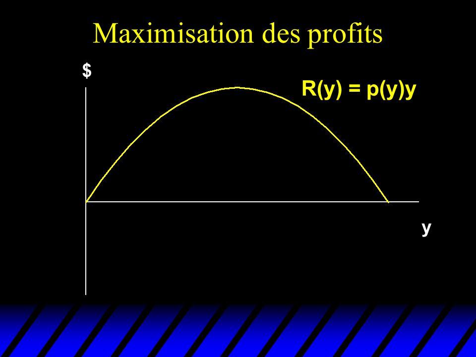 Marge du monopoleur u Pour que cette condition soit vérifiée avec un coût marginal et un prix positif, on doit avoir | (y*)| > 1 u Un monopoleur ne produira que dans la portion élastique de sa courbe de demande (si sa demande est inélastique, il a intérêt à continuer daugmenter son prix).