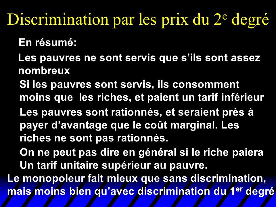 Discrimination par les prix du 2 e degré Les pauvres ne sont servis que sils sont assez nombreux En résumé: On ne peut pas dire en général si le riche
