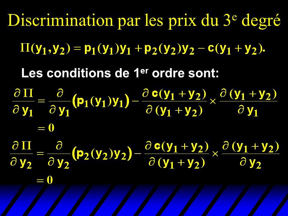 Discrimination par les prix du 3 e degré Les conditions de 1 er ordre sont: