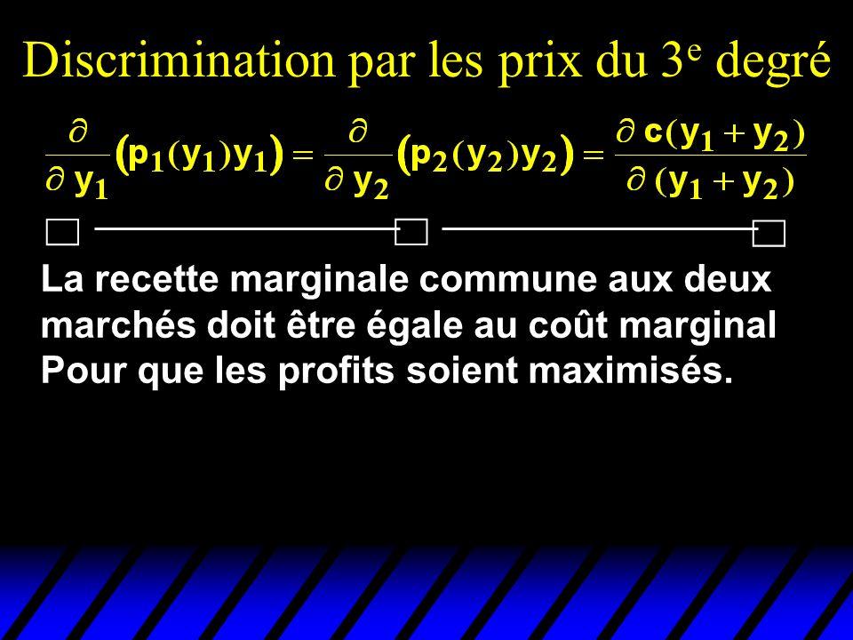 Discrimination par les prix du 3 e degré La recette marginale commune aux deux marchés doit être égale au coût marginal Pour que les profits soient ma