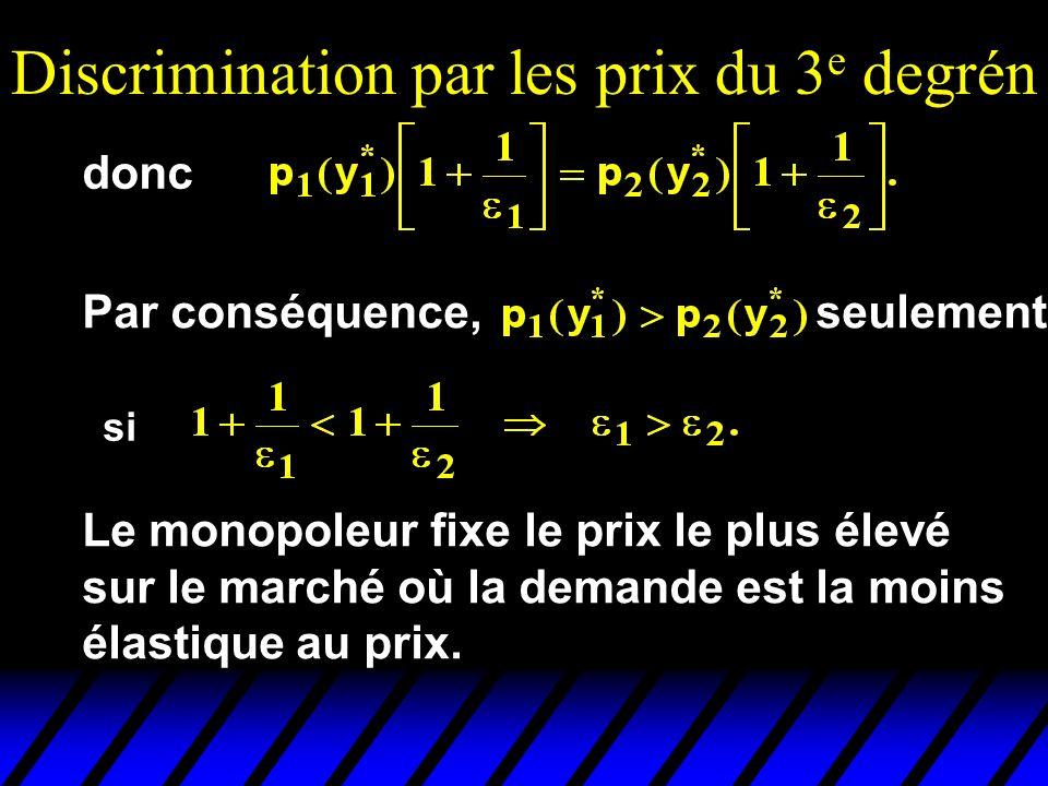 Discrimination par les prix du 3 e degrén donc Par conséquence, seulement si Le monopoleur fixe le prix le plus élevé sur le marché où la demande est