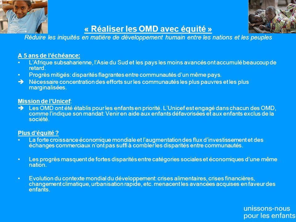 « Réaliser les OMD avec équité » Réduire les iniquités en matière de développement humain entre les nations et les peuples A 5 ans de léchéance: LAfrique subsaharienne, lAsie du Sud et les pays les moins avancés ont accumulé beaucoup de retard.