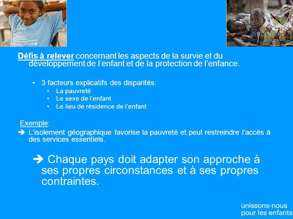 Défis à relever concernant les aspects de la survie et du développement de lenfant et de la protection de lenfance.