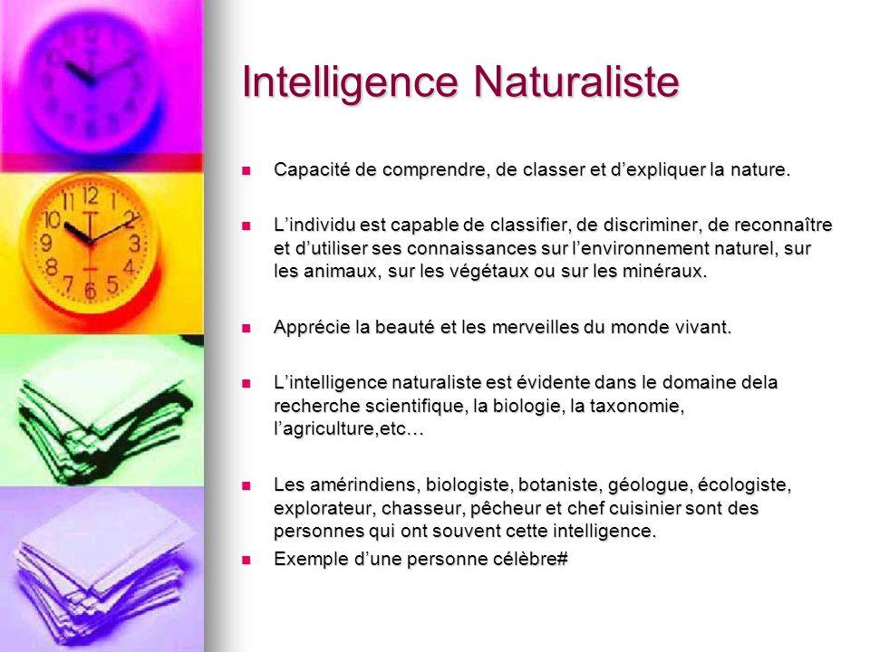Intelligence Naturaliste Capacité de comprendre, de classer et dexpliquer la nature. Capacité de comprendre, de classer et dexpliquer la nature. Lindi