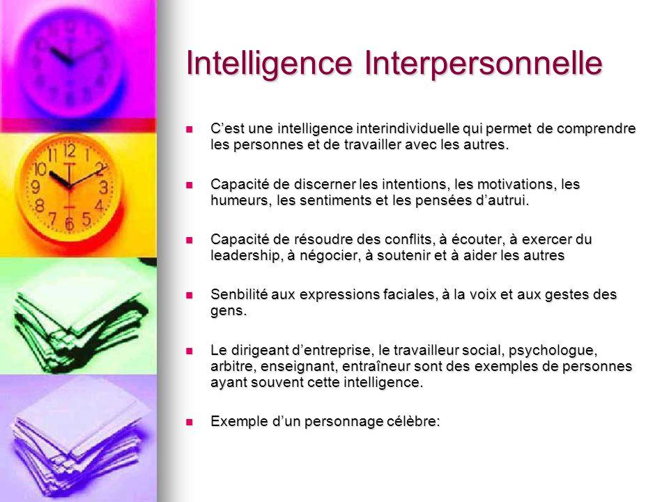 Intelligence Interpersonnelle Cest une intelligence interindividuelle qui permet de comprendre les personnes et de travailler avec les autres. Cest un