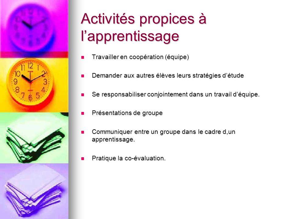 Activités propices à lapprentissage Travailler en coopération (équipe) Travailler en coopération (équipe) Demander aux autres élèves leurs stratégies