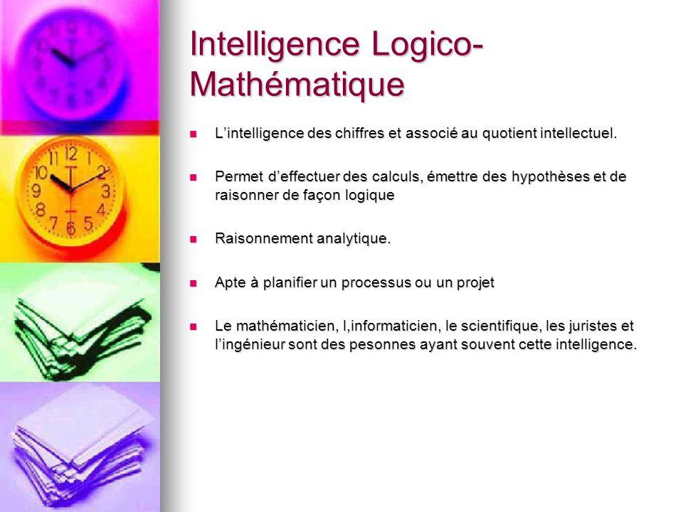 Intelligence Logico- Mathématique Lintelligence des chiffres et associé au quotient intellectuel. Lintelligence des chiffres et associé au quotient in