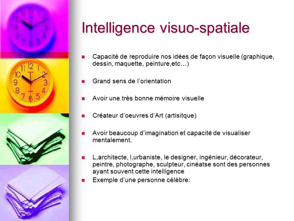 Intelligence visuo-spatiale Capacité de reproduire nos idées de façon visuelle (graphique, dessin, maquette, peinture,etc…) Capacité de reproduire nos