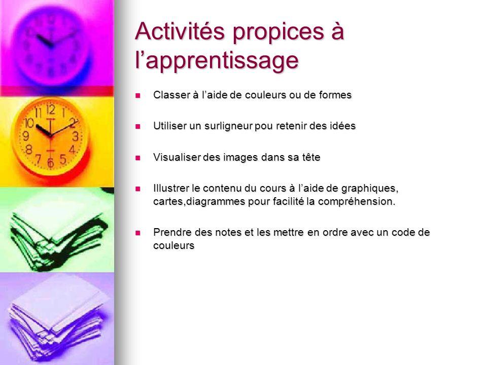 Activités propices à lapprentissage Classer à laide de couleurs ou de formes Classer à laide de couleurs ou de formes Utiliser un surligneur pou reten