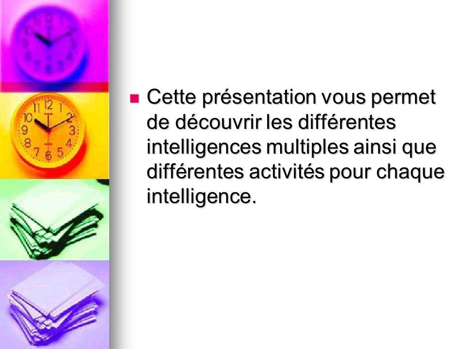 Cette présentation vous permet de découvrir les différentes intelligences multiples ainsi que différentes activités pour chaque intelligence. Cette pr