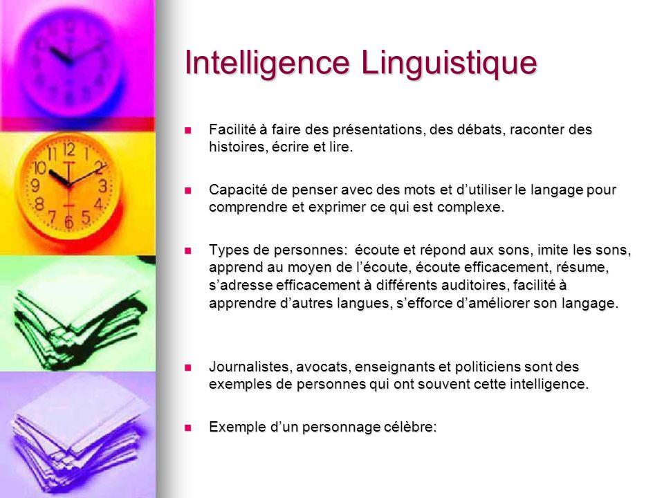 Intelligence Linguistique Facilité à faire des présentations, des débats, raconter des histoires, écrire et lire. Facilité à faire des présentations,