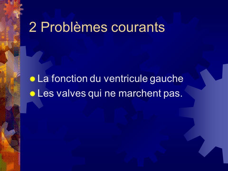 2 Problèmes courants La fonction du ventricule gauche Les valves qui ne marchent pas.