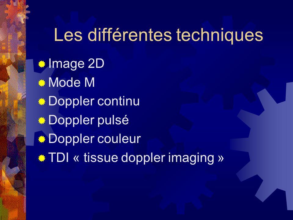 Les différentes techniques Image 2D Mode M Doppler continu Doppler pulsé Doppler couleur TDI « tissue doppler imaging »