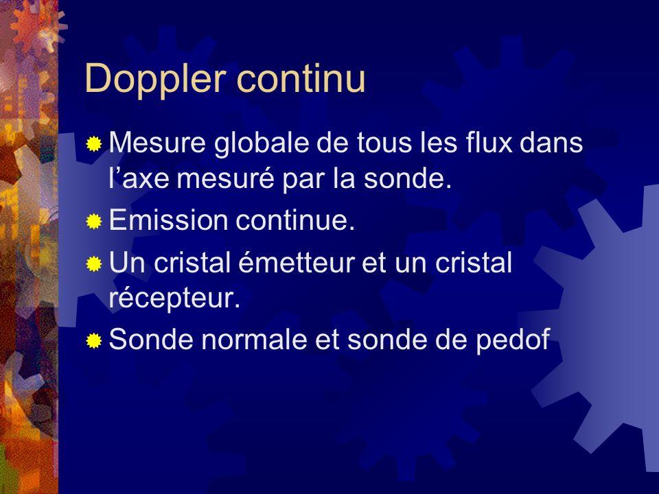 Doppler continu Mesure globale de tous les flux dans laxe mesuré par la sonde. Emission continue. Un cristal émetteur et un cristal récepteur. Sonde n