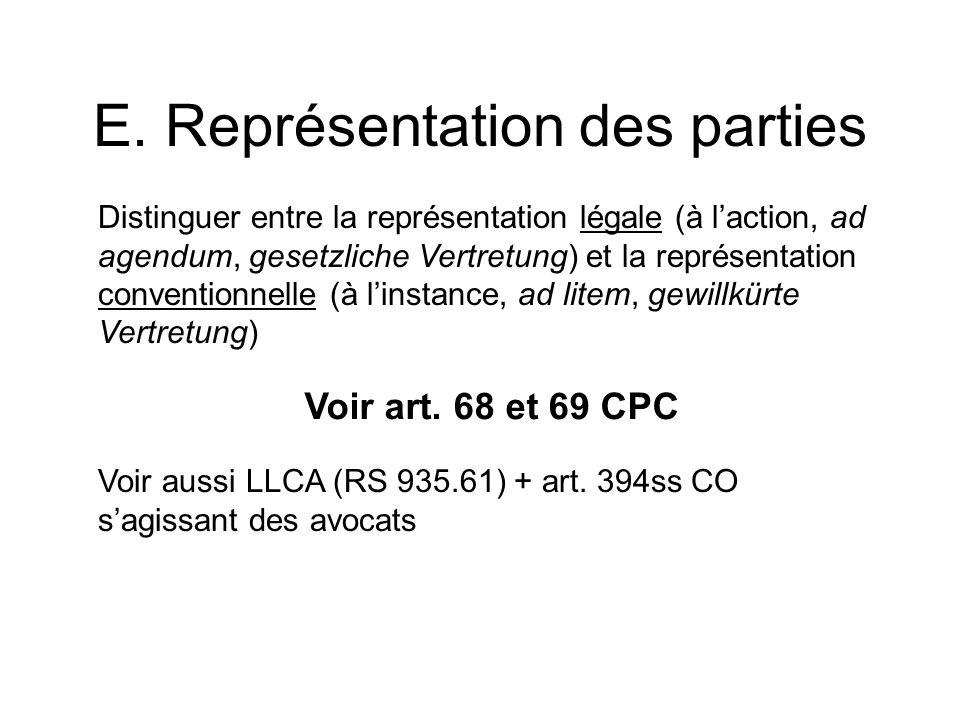 Distinguer entre la représentation légale (à laction, ad agendum, gesetzliche Vertretung) et la représentation conventionnelle (à linstance, ad litem,