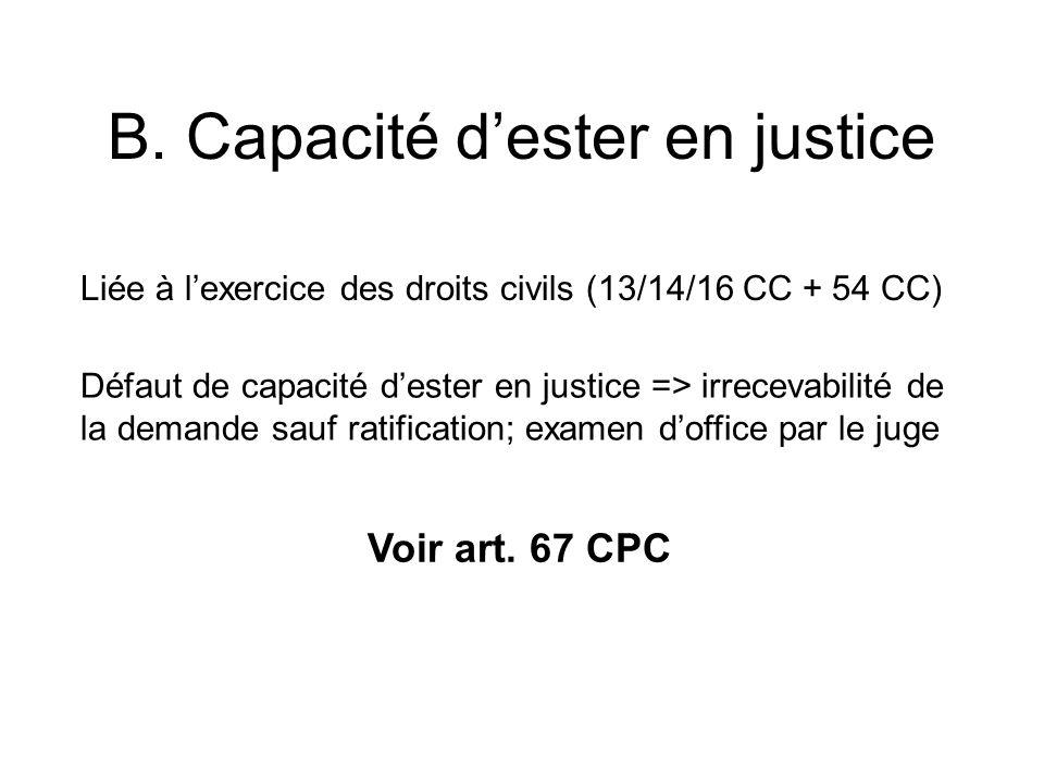 B. Capacité dester en justice Liée à lexercice des droits civils (13/14/16 CC + 54 CC) Défaut de capacité dester en justice => irrecevabilité de la de
