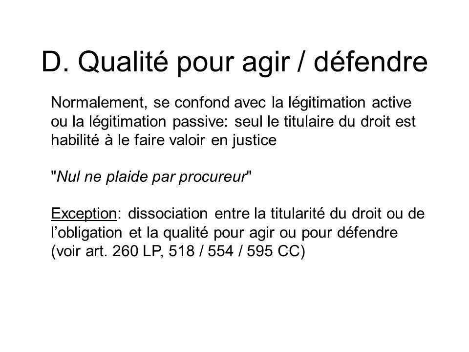 D. Qualité pour agir / défendre Normalement, se confond avec la légitimation active ou la légitimation passive: seul le titulaire du droit est habilit