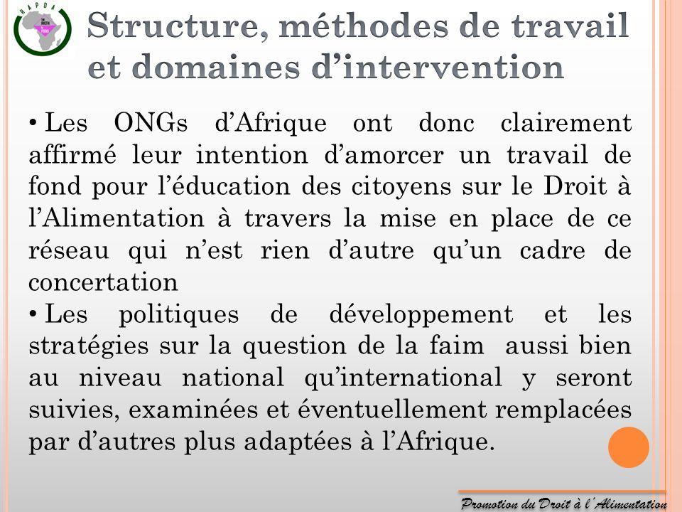 Promotion du Droit à lAlimentation Les ONGs dAfrique ont donc clairement affirmé leur intention damorcer un travail de fond pour léducation des citoye