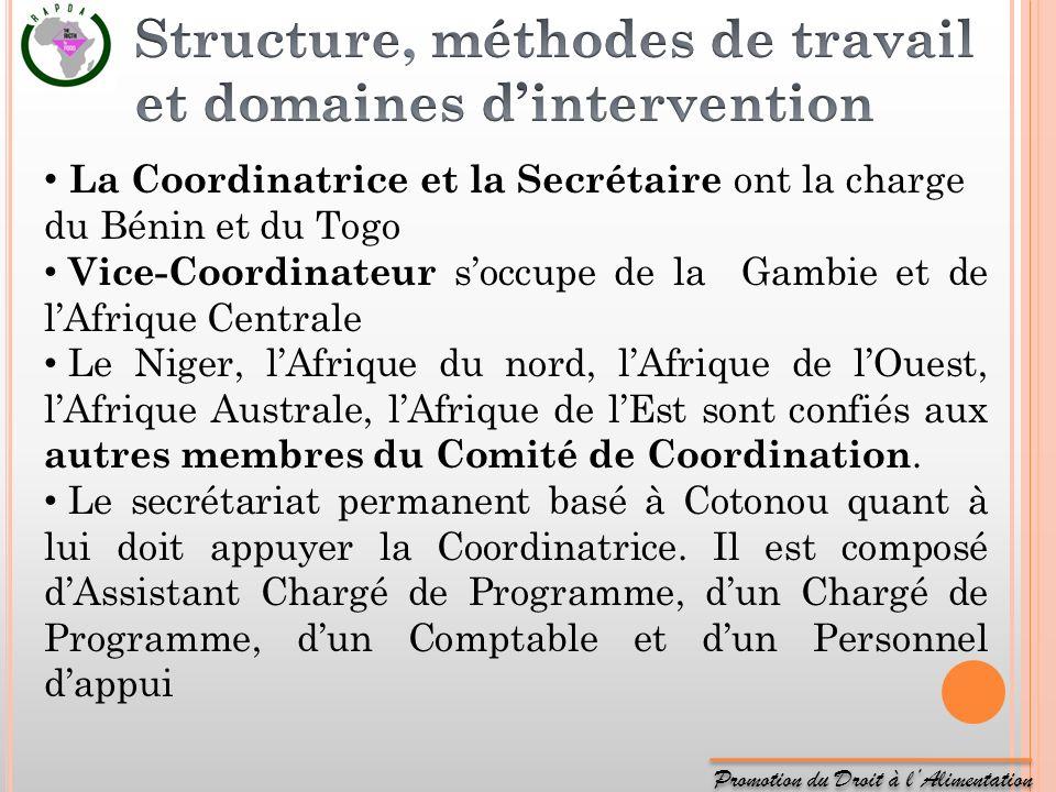 Promotion du Droit à lAlimentation La Coordinatrice et la Secrétaire ont la charge du Bénin et du Togo Vice-Coordinateur soccupe de la Gambie et de lA