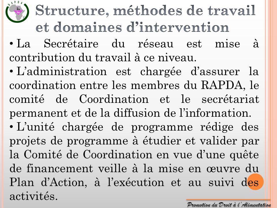 Promotion du Droit à lAlimentation La Secrétaire du réseau est mise à contribution du travail à ce niveau. Ladministration est chargée dassurer la coo