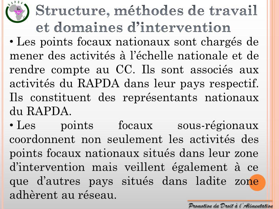 Promotion du Droit à lAlimentation Les points focaux nationaux sont chargés de mener des activités à léchelle nationale et de rendre compte au CC. Ils