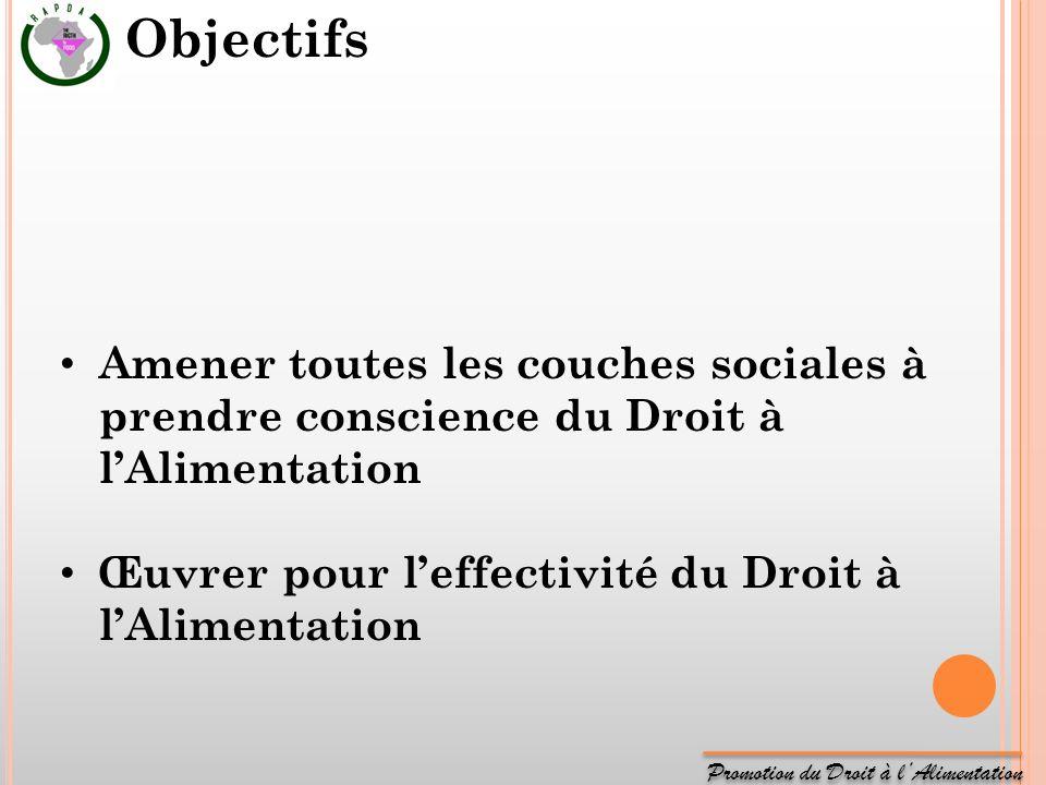 Promotion du Droit à lAlimentation Amener toutes les couches sociales à prendre conscience du Droit à lAlimentation Œuvrer pour leffectivité du Droit