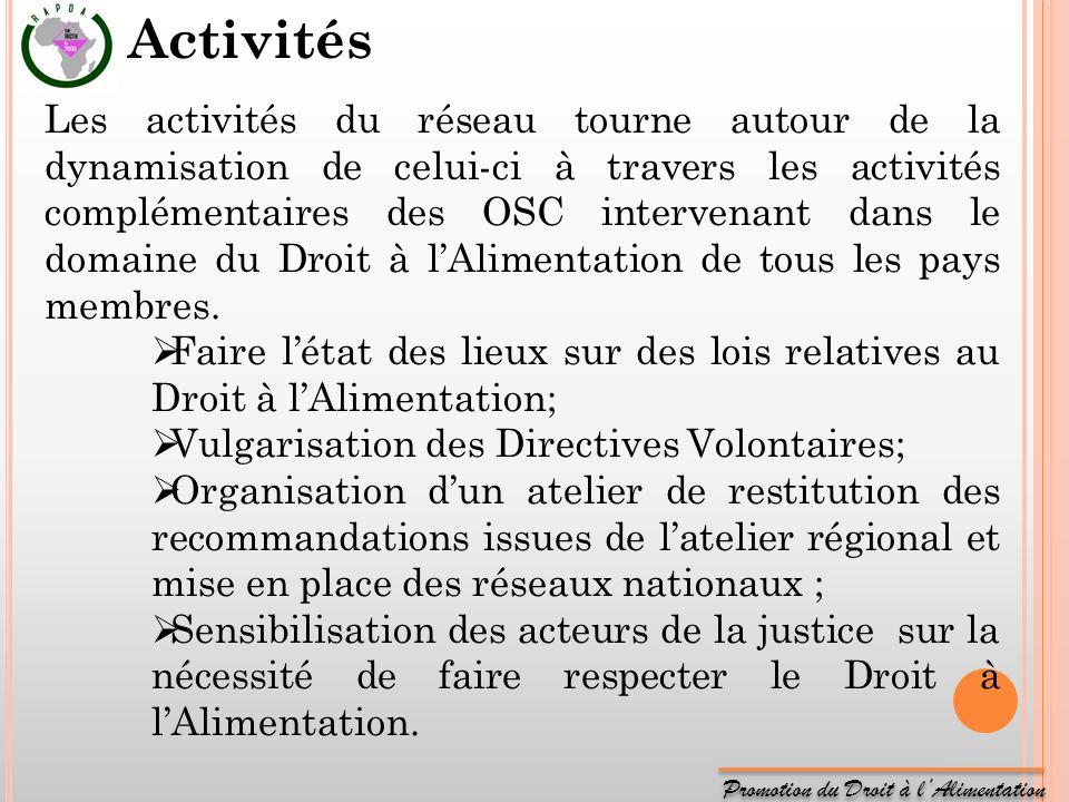 Promotion du Droit à lAlimentation Les activités du réseau tourne autour de la dynamisation de celui-ci à travers les activités complémentaires des OS
