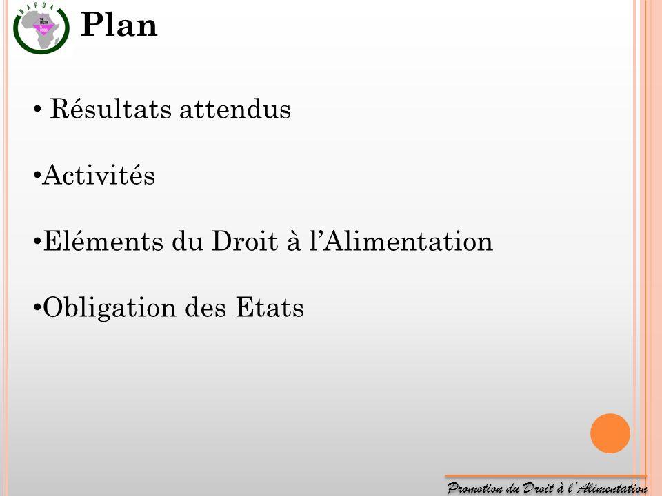 Promotion du Droit à lAlimentation Résultats attendus Activités Eléments du Droit à lAlimentation Obligation des Etats Plan
