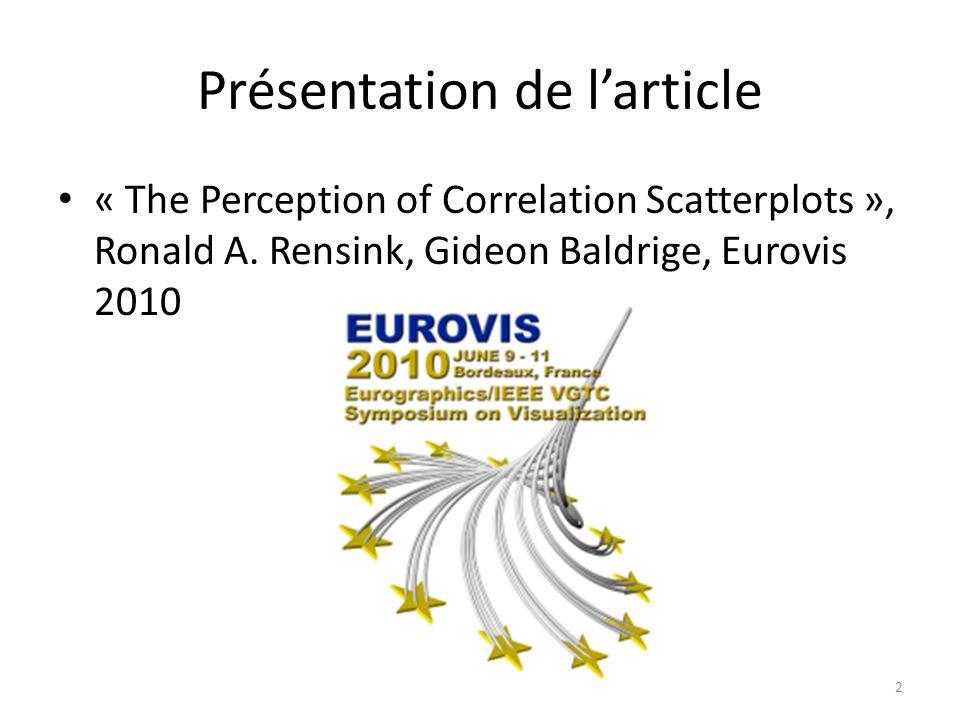 Présentation de larticle « The Perception of Correlation Scatterplots », Ronald A. Rensink, Gideon Baldrige, Eurovis 2010 2