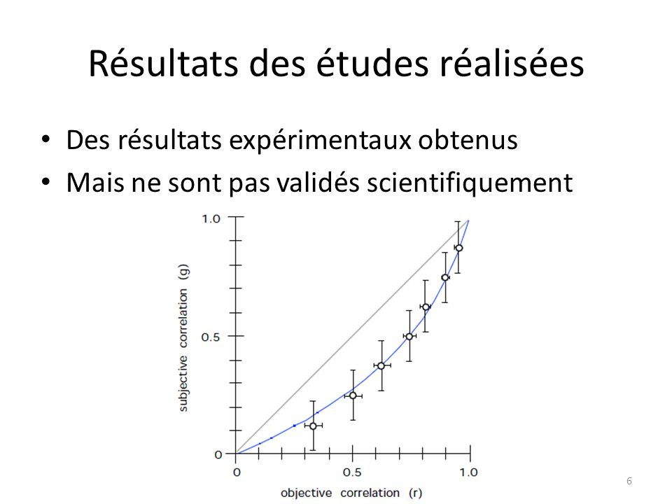 Résultats des études réalisées Des résultats expérimentaux obtenus Mais ne sont pas validés scientifiquement 6