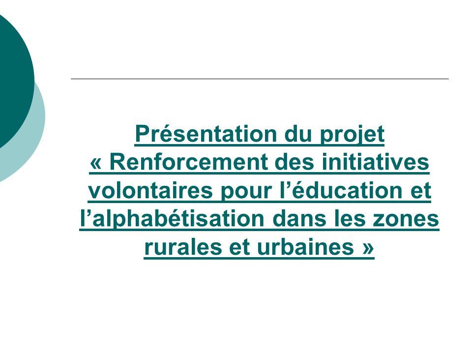 Présentation du projet « Renforcement des initiatives volontaires pour léducation et lalphabétisation dans les zones rurales et urbaines »