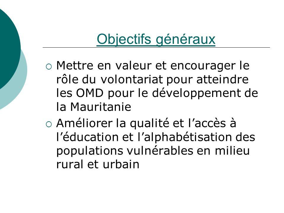 Objectifs généraux Mettre en valeur et encourager le rôle du volontariat pour atteindre les OMD pour le développement de la Mauritanie Améliorer la qu