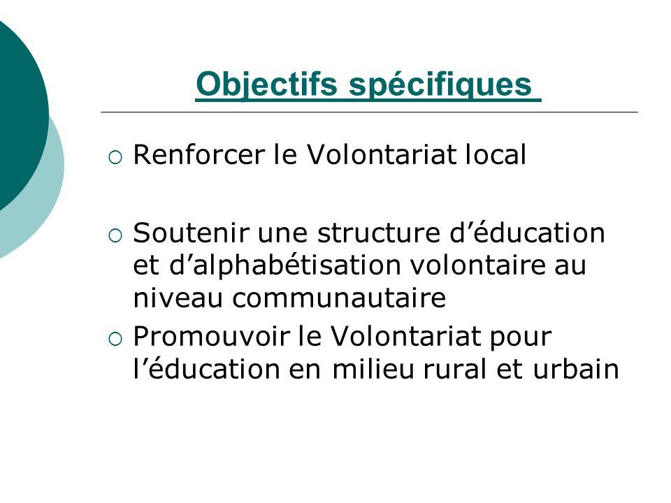 Objectifs spécifiques Renforcer le Volontariat local Soutenir une structure déducation et dalphabétisation volontaire au niveau communautaire Promouvoir le Volontariat pour léducation en milieu rural et urbain