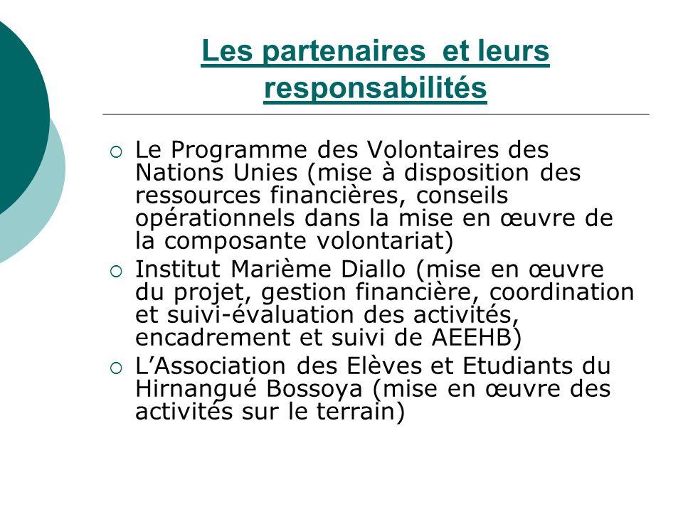 Les partenaires et leurs responsabilités Le Programme des Volontaires des Nations Unies (mise à disposition des ressources financières, conseils opéra