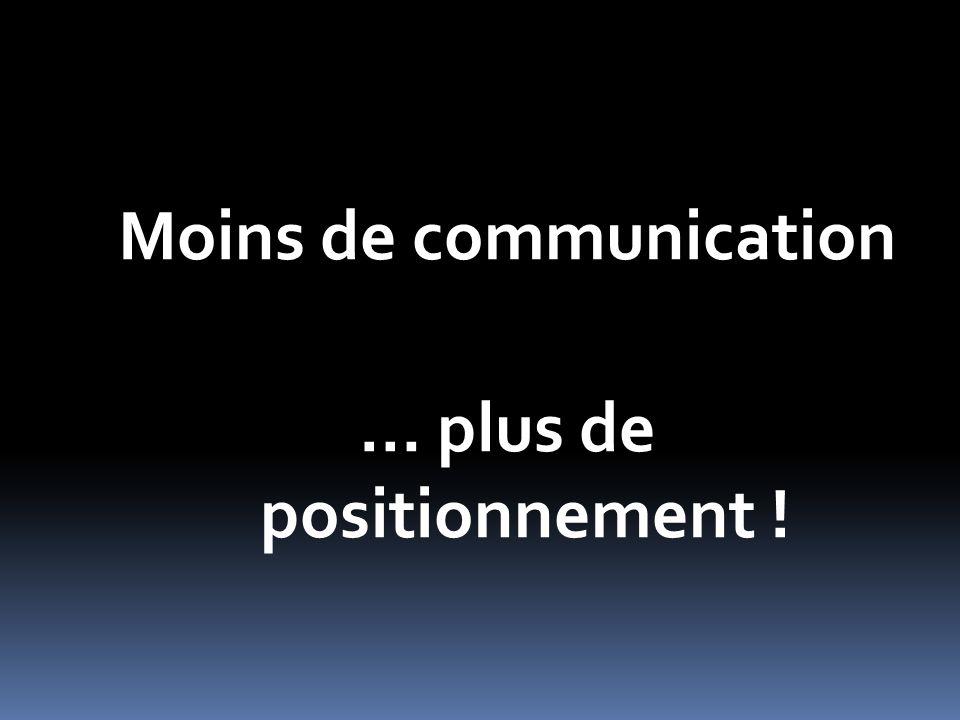 Moins de communication … plus de positionnement !