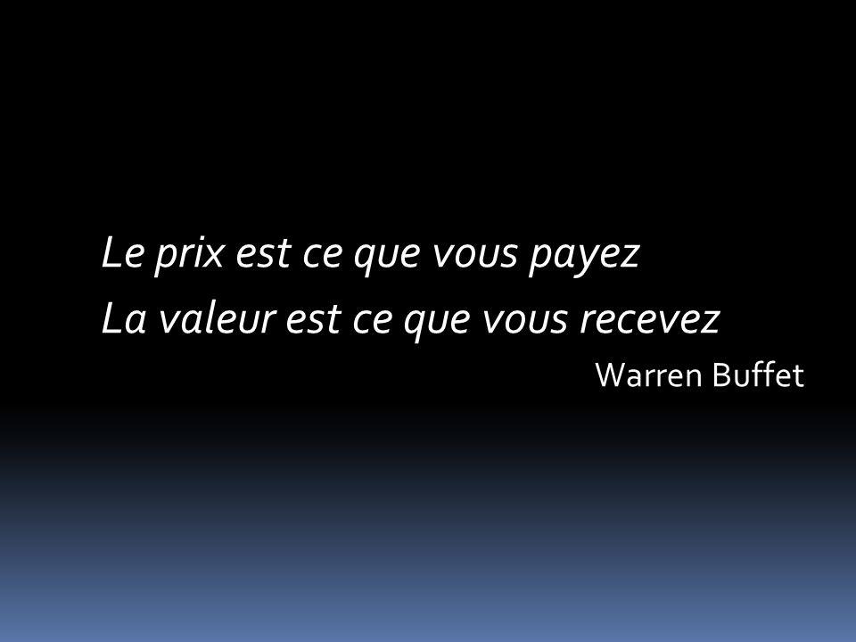 Le prix est ce que vous payez La valeur est ce que vous recevez Warren Buffet