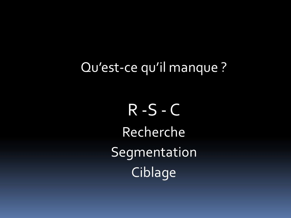 R -S - C Recherche Segmentation Ciblage