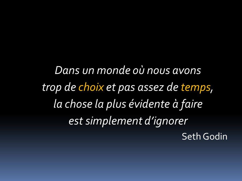 Dans un monde où nous avons trop de choix et pas assez de temps, la chose la plus évidente à faire est simplement dignorer Seth Godin