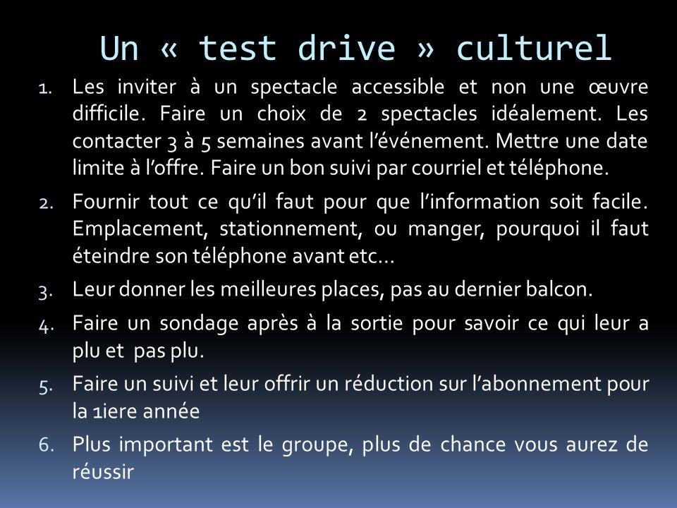 Un « test drive » culturel 1. Les inviter à un spectacle accessible et non une œuvre difficile. Faire un choix de 2 spectacles idéalement. Les contact