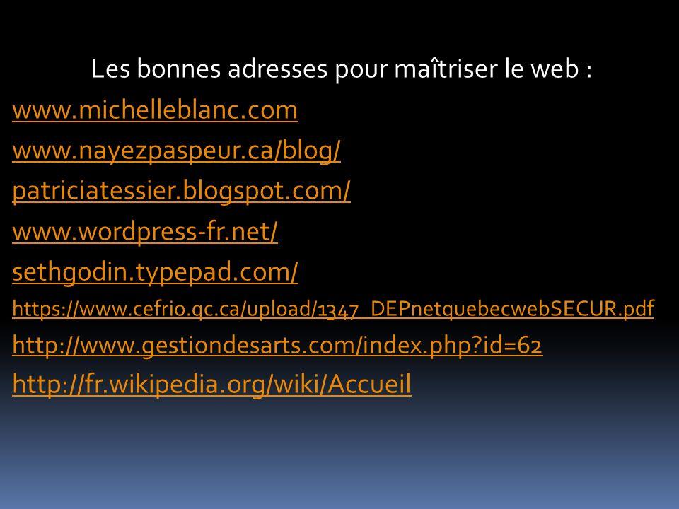 Les bonnes adresses pour maîtriser le web : www.michelleblanc.com www.nayezpaspeur.ca/blog/ patriciatessier.blogspot.com/ www.wordpress-fr.net/ sethgo